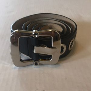 Betsy Johnson leather belt black silver hardware